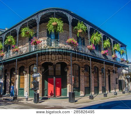 French Quarter Architecture In New Orleans, Louisiana. House In French Quarter In 18th Century Spani