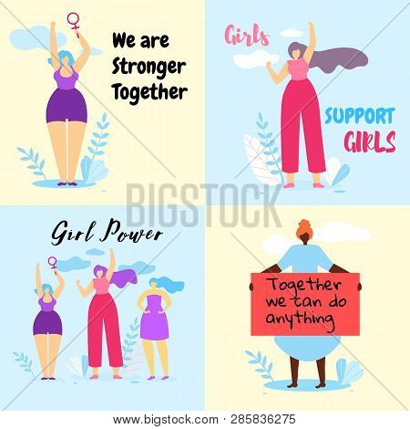Set Of Colorful Banner With Brave Feminist Girls Struggle For Women Rights, Feminism Quotes. Girl Po