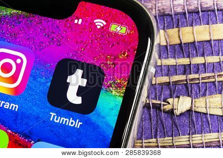 Sankt-petersburg, Russia, February 17, 2019: Tumblr Application Icon On Apple Iphone X Smartphone Sc