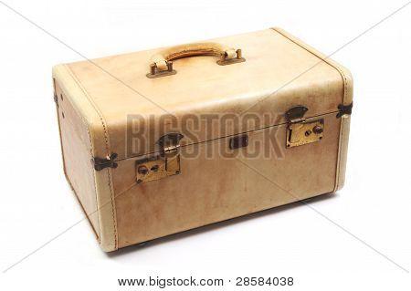 Isolated Vintage Tan Luggage