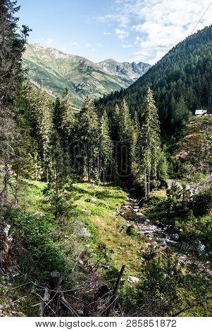 Ziarska Dolina Valley With Tri Kopy And Hruba Kopa Mountain Peak On The Background In Zapadne Tatry