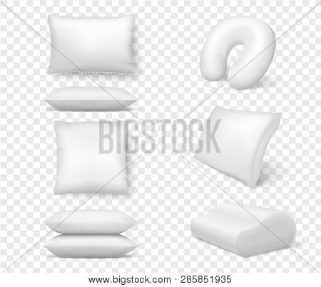 Realistic White Pillows. Vector 3d Comfortable Cushion Square Anatomical. Template, Mock Up Of White