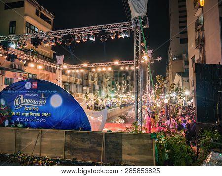 Bangkok/thailand - 22 November 2018:unacquainted People Come To Visit Loi Krathong Festival On Khlon