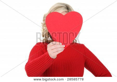 Young Woman Holding A Paper Heart 01