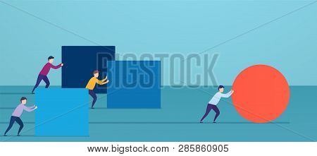 Businessman Pushes Red Sphere, Overtaking Competitors. Concept Of Winning Strategy, Business Efficie