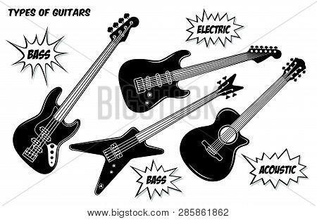 Electric, Bass And Acoustic Guitar With 6 And 4 Strings. Vector Black And White Silhouette Illustrat