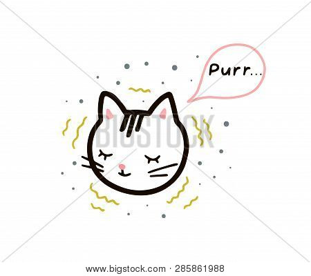 Dozing Kitten In A Linear Style. Purr Text In A Speech Bubble. Vector Isolated Illustration