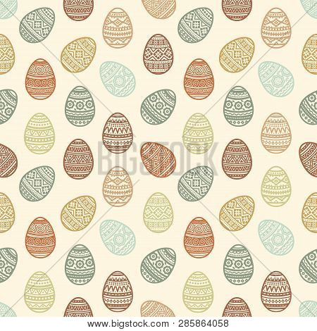 Seamless Pattern Of Colorful Easter Egg Vector Flat Icons Painted In Traditional Style. Eggs Isolate