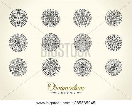 Eastern Silhouette Of A Round Ornament. Floral Emblem Set With Floral Pattern