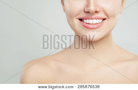 Young Woman Smiling Closeup. Cheerful Smile, Healthy White Teeth And Perfect Glossy Lips