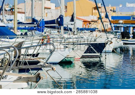 Cabo De Palos, Spain - February 8, 2019   A Beautiful Marina With Luxury Yachts And Motor Boats In T