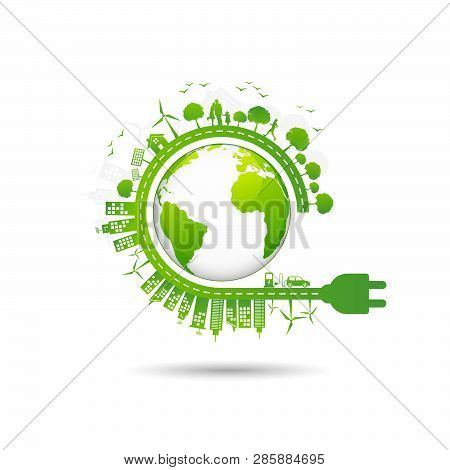 Ecology Concept With Green City For World Environment Day And Sustainable Development Concept, Vecto