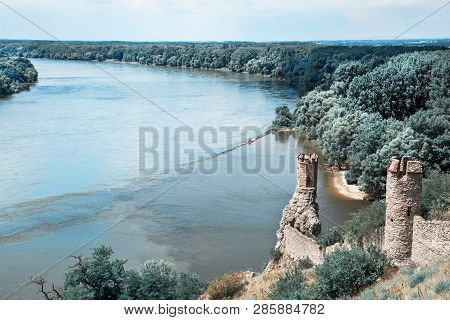 Maiden Tower Of Devin Castle And Confluence Of The Danube With Morava Rivers. Slovak Republic, Centr