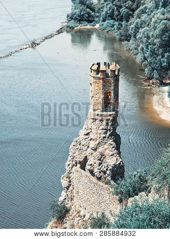 Maiden Tower Of Devin Castle, Slovak Republic, Central Europe. Teal And Orange Photo Filter.
