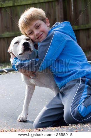 Boy hugging his pit bull dog smiling at camera poster