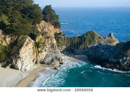 A waterfall on the California Coast