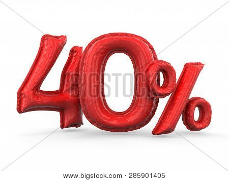 Red Forty Percent Made Of Inflatable Balloons. Percent Set. 3d Rendering