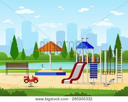 Kids Playground. City Park Playground Leisure Outdoor Activities Cityscape Landscape Garden Entertai