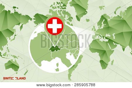 America Centric World Map With Magnified Switzerland Map. Green Polygonal World Map.