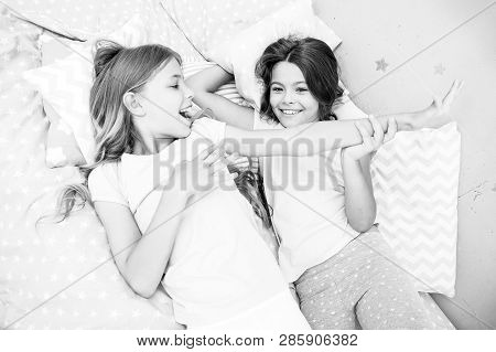 Slumber Party Concept. Girls Just Want To Have Fun. Invite Friend For Sleepover. Best Friends Foreve