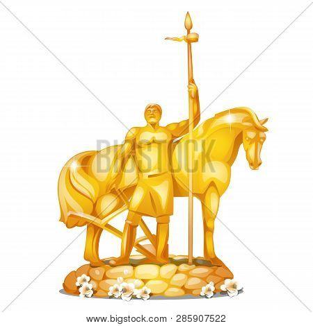 Monument To The First Settler In Russian City Penza Made Of Gold Isolated On White Background. Vecto