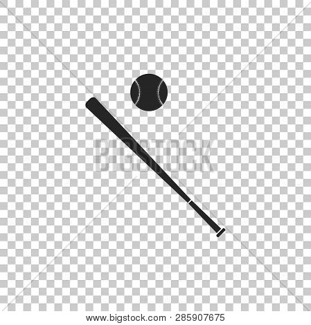 2f220999545 Baseball Ball And Bat Icon Isolated On Transparent Background. Flat Design.  Vector Illustration