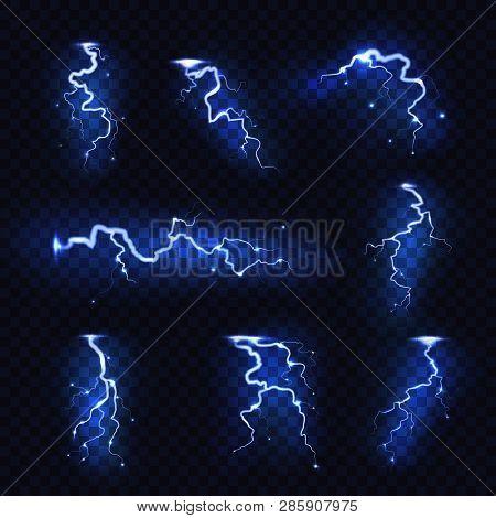 Realistic Lightnings. Blitz Lightning Thunder Light Sparks Storm Flash Thunderstorm. Power Energy Ch