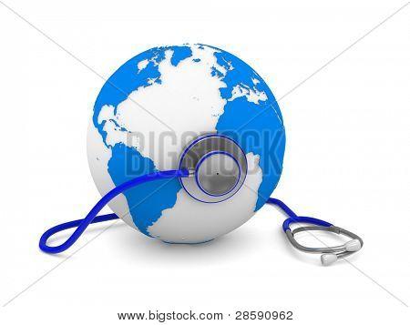 Stethoscope and globe on white background. Isolated 3D image