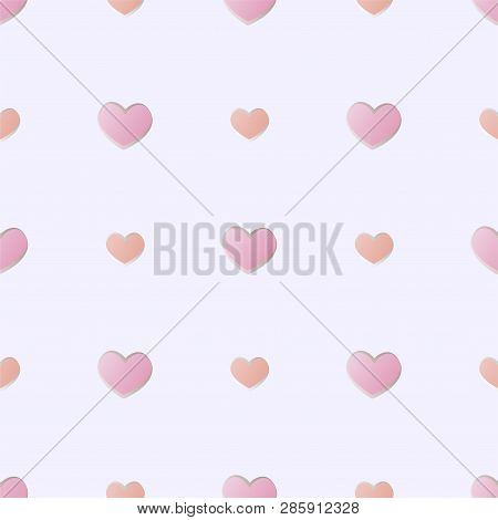 Flat Vector Seamless Pattern With Pink Hearts On Gray Background