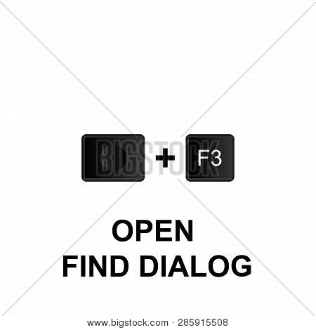 Keyboard Shortcuts, Open Find Dialog Icon. Can Be Used For Web, Logo, Mobile App, Ui, Ux On White Ba