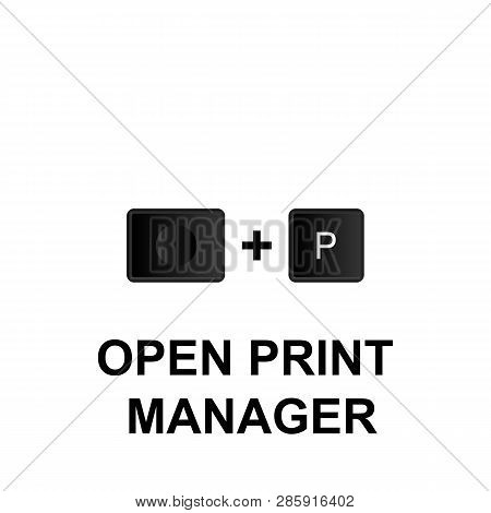 Keyboard Shortcuts, Open Print Manager Icon. Can Be Used For Web, Logo, Mobile App, Ui, Ux On White