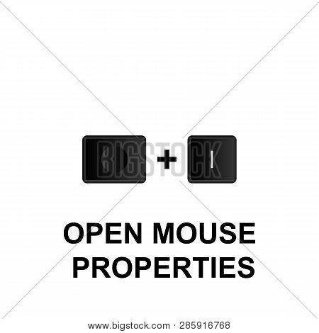 Keyboard Shortcuts, Open Mouse Properties Icon. Can Be Used For Web, Logo, Mobile App, Ui, Ux On Whi