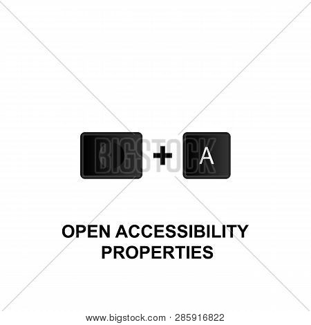 Keyboard Shortcuts, Open Accessibility Properties Icon. Can Be Used For Web, Logo, Mobile App, Ui, U