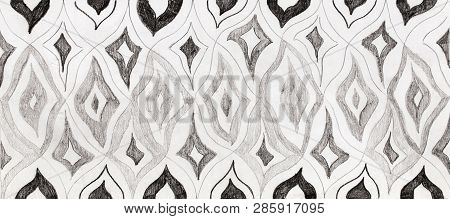 Hand Drawn Rhytmical Structured Pattern On Paper.