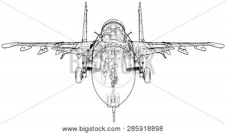 Jet Fighter Aircraft. Vector Wire-frame Concept. Created Illustration Of 3d.