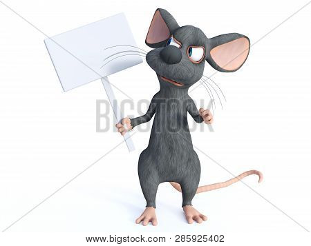3d Rendering Of A Cute Cartoon Mouse Holding A Blank Sign. He Is Looking At The Sign And Seem Very A