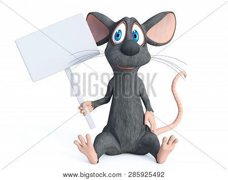 3d Rendering Of A Cute Smiling Cartoon Mouse Sitting Down On The Floor And Holding A Blank Sign. Whi