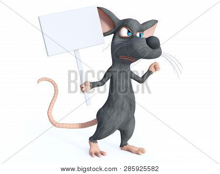 3d Rendering Of A Cute Cartoon Mouse Holding A Blank Sign And Looking Upset While Marching And Prote