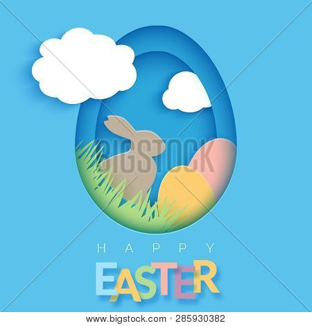 Easter Card With Paper Cut Egg Shape Frame. Happy Easter Paper Cut Out Egg On Blue Background. Trend