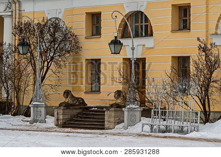 Lions Guarding The Entrance To The Palace. February. Pavlovsk. Park.