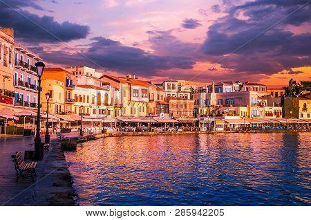 Chania, Crete Island, Greece - June 26, 2016: Stunning Sunset View Of The Old Venetian Port Of Chani