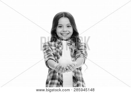 Apple Vitamin Snack. Girl Cute Long Curly Hair Holds Apple Fruit White Background. Child Girl Casual