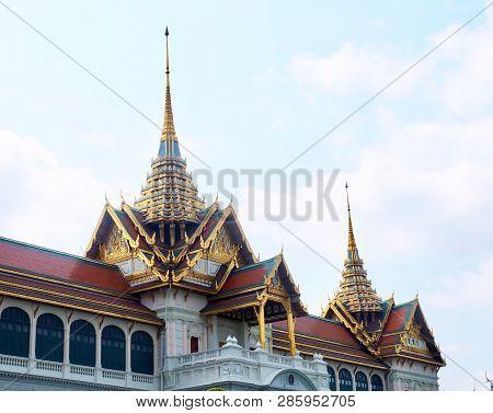 Chakri Maha Prasat Throne Hall In Wat Phra Kaew Temple And The Grand Palace At Bangkok, Thailand.
