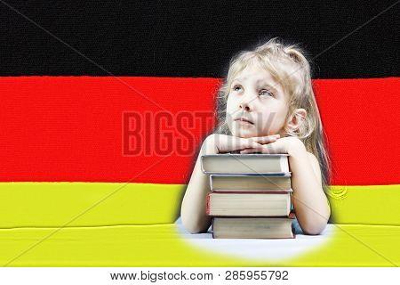 German Flag. Blonde Girl Wants To Learn German. Double Exposure.