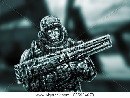 Soldier Of The Future. Battle On Alien Planet. Front View. Science Fiction Genre.