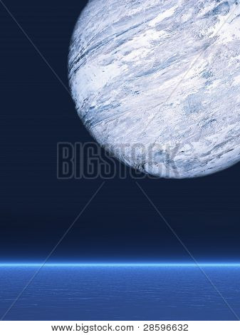 Big Planet Over The Sea