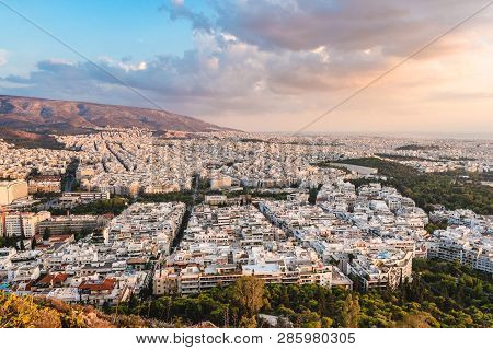 View Over The Athens In Sunset Time From Lycabettus Hill, Greece.