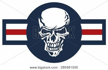 Military Aircraft Emblem With Skull Roundel Vector Illustration