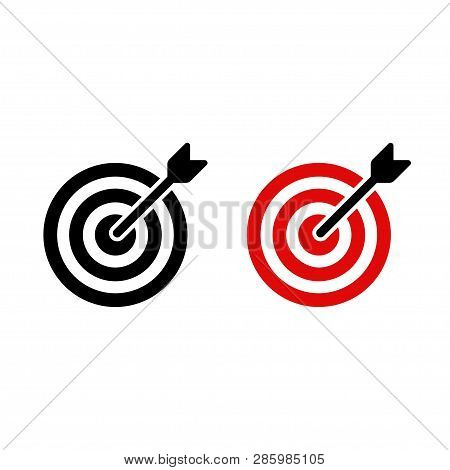 Target Icon With Arrow Shot At Bullseye. Black And Red Aim And Accuracy Symbol. Vector Sign Illustra