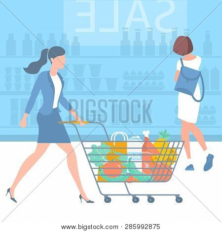 Young  Woman At Shopping With Supermarket Trolley. Flat Desin Vector Concept. Ready For Animation Ch